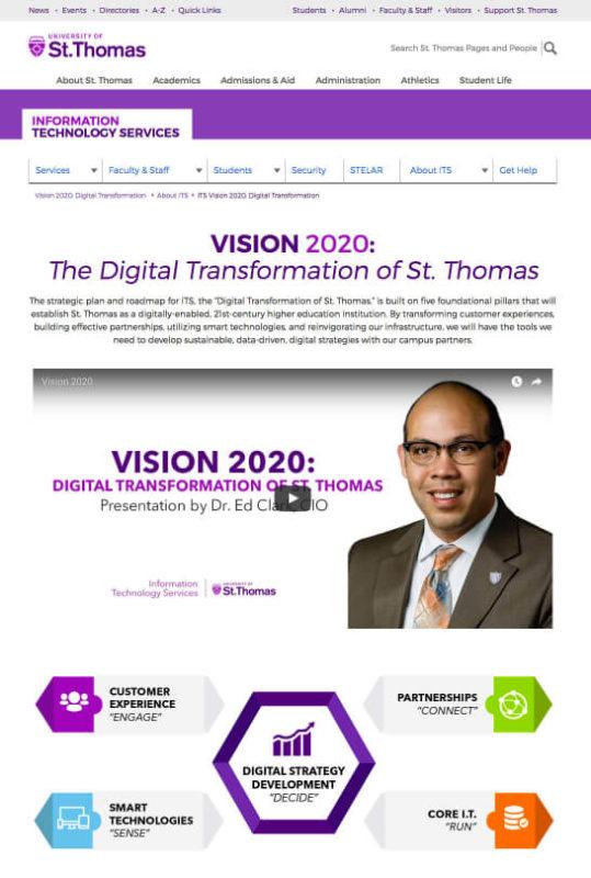 University of St. Thomas: ITS Vision 2020 Roadmap