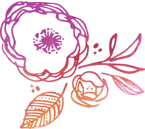 sketching of a floral image with an overlay of a color watercolor pattern