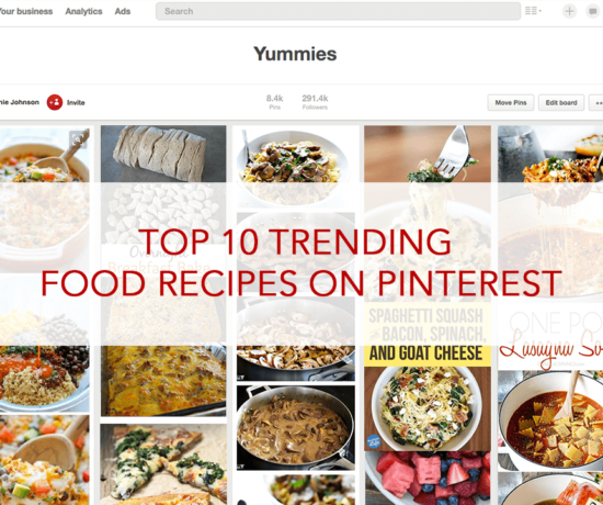 Screenshot of my Yummies Pinterest board. This board has pins of various recipe pins