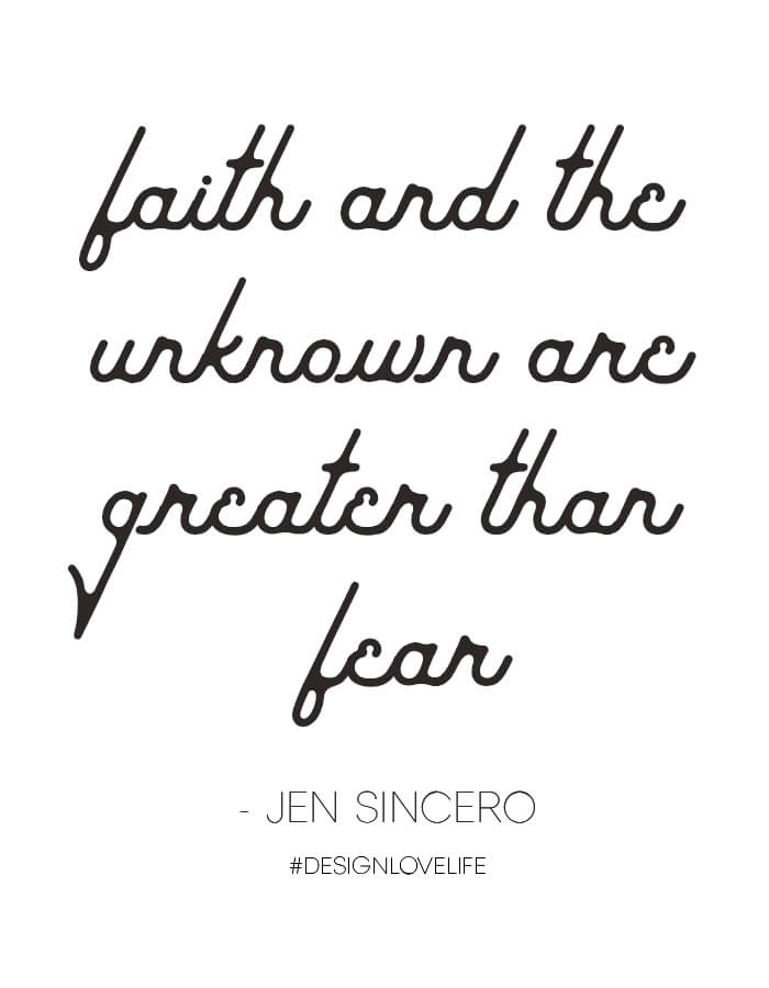 Inspirational Quote: faith and the unknown are greater than fear - quote