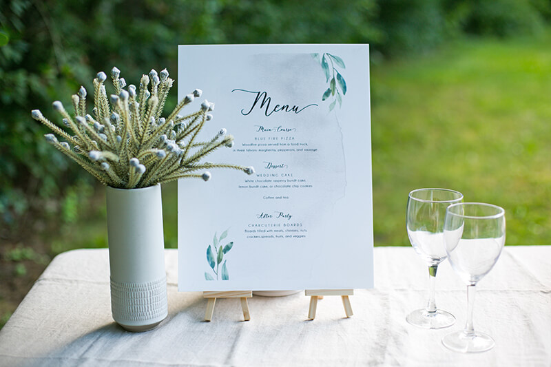 Last-Minute Wedding Ideas, Menu