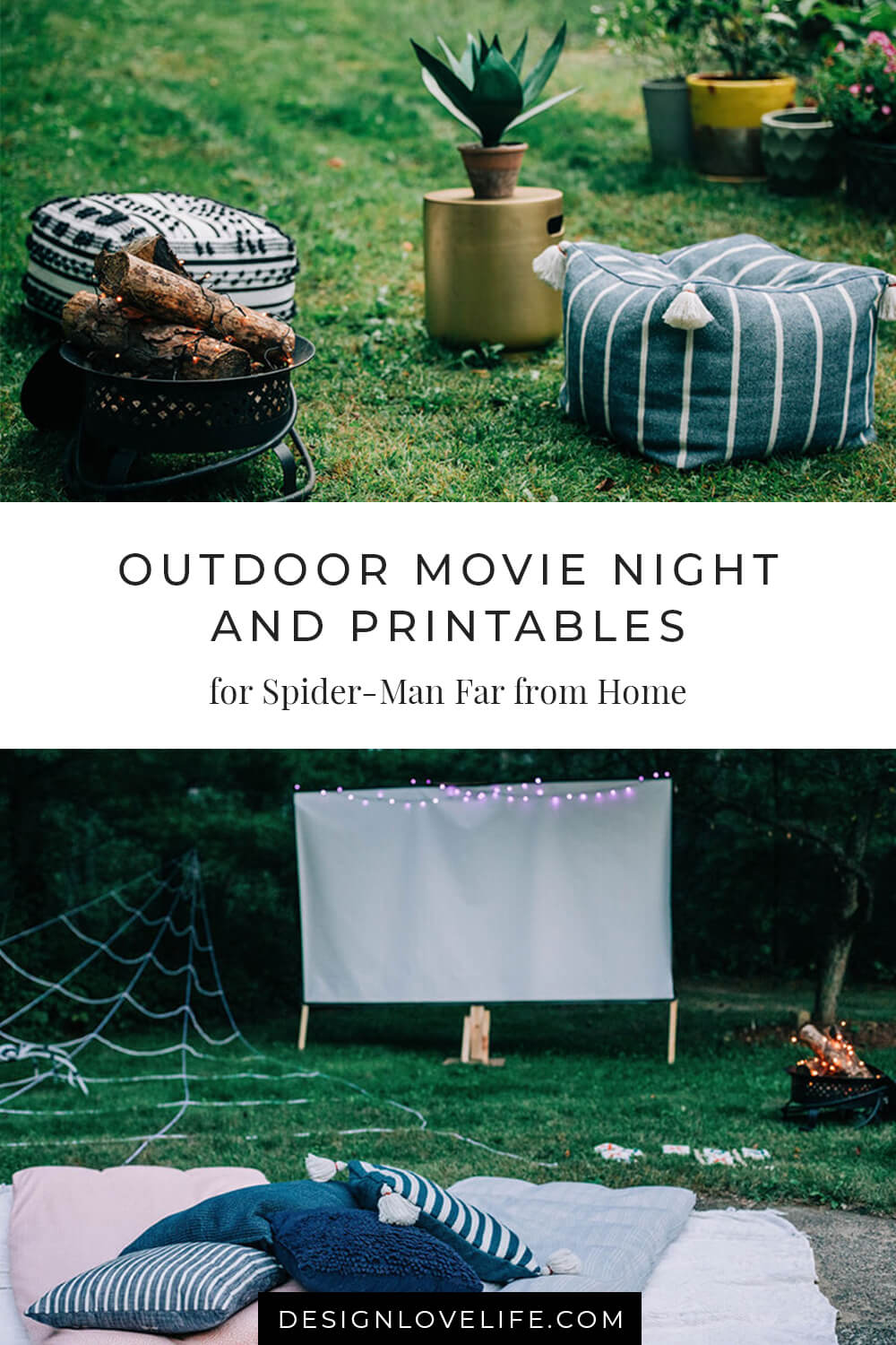 Outdoor Spider-Man: Far From Home Movie Night. Outdoor Movie Night with Printables for a Spider-Man themed party. Annie Johnson - Design Love Life