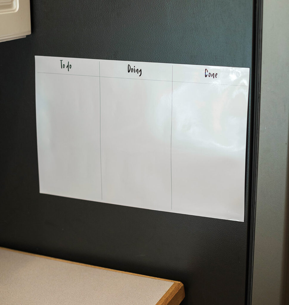 blank simple kanban board hung on refrigerator, from Design Love Life in partnership with Walmart Photo