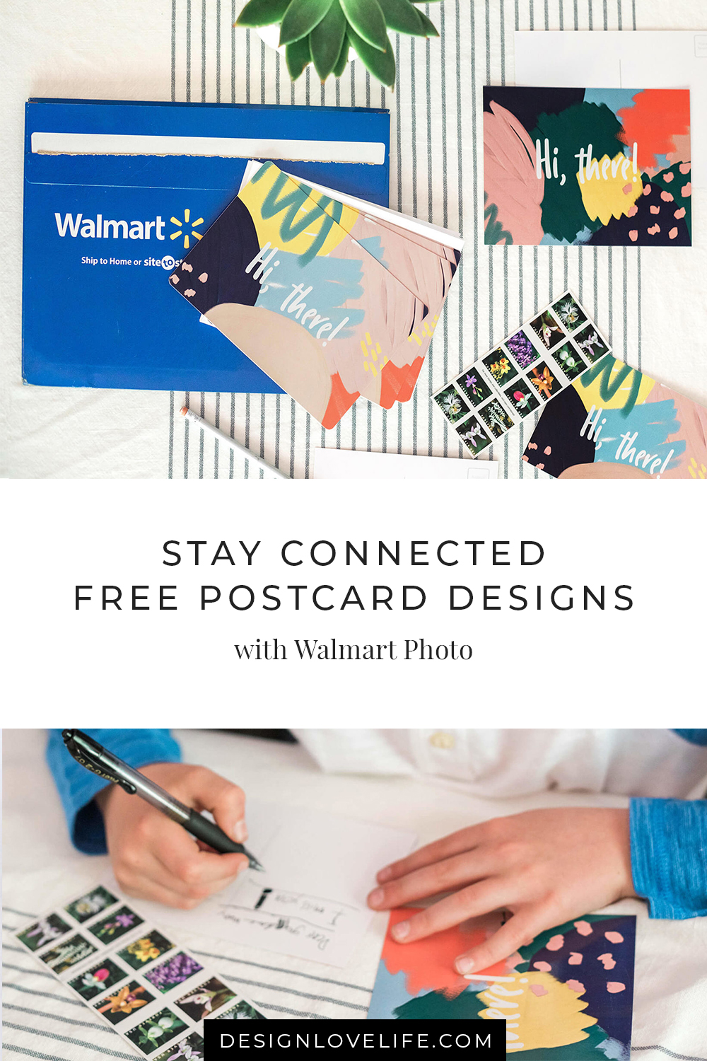 Start with a pen pal by creating your own postcards. Download Design Love Life design's and print with Walmart Photo