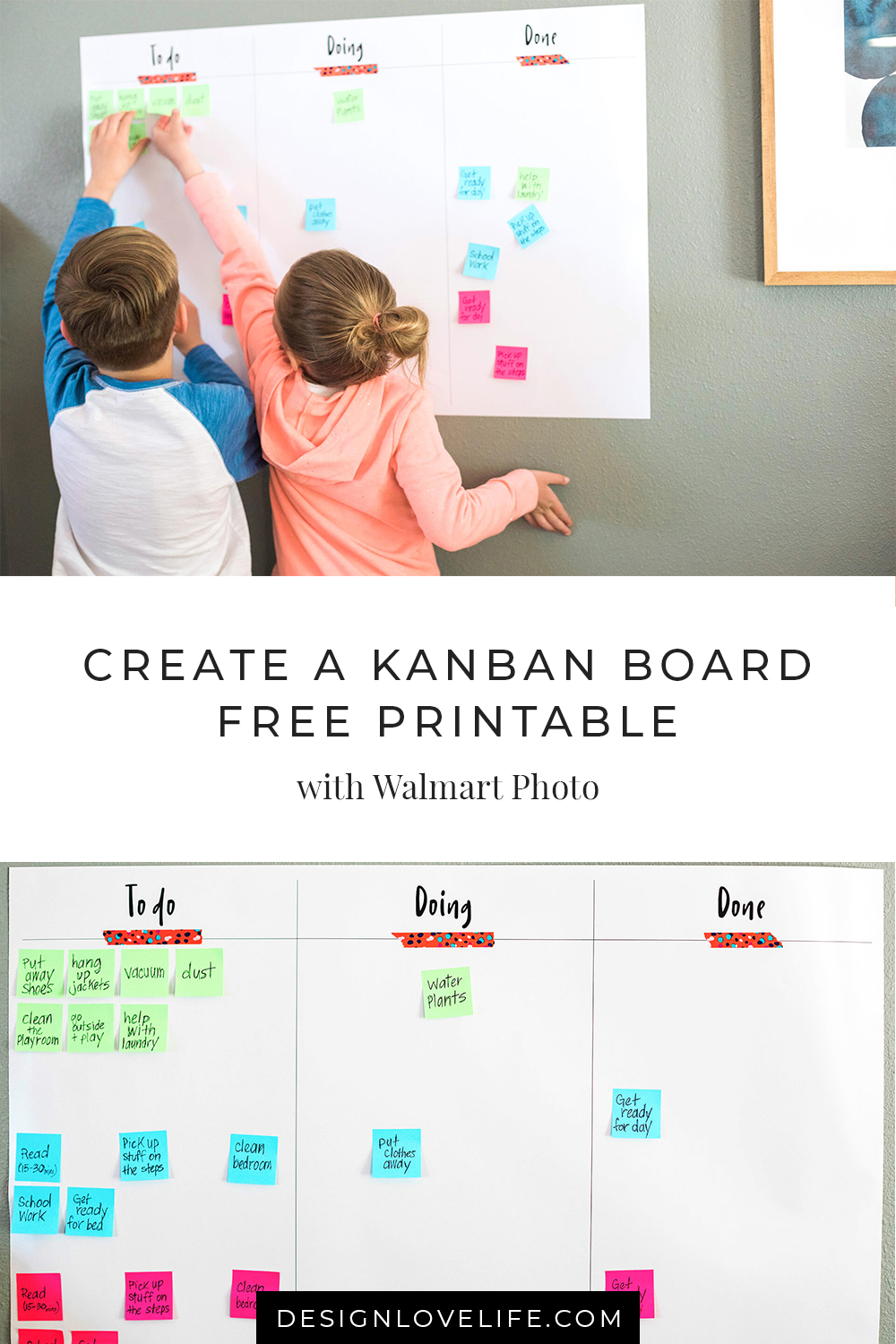 kanban board cards written out, from Design Love Life in partnership with Walmart Photo Center