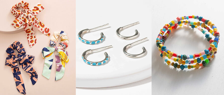 Adorable scrunchies, simple sterling silver earrings, and adorable-colorful bracelets for any kids. Noonday Collection gift ideas with Annie Johnson.