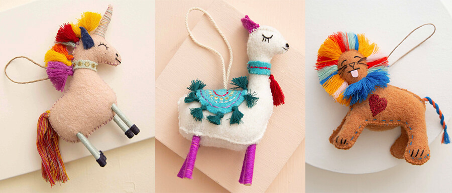 Noonday unique-handmade ornaments for kids and anyone that loves, unicorns, llamas, and lions.