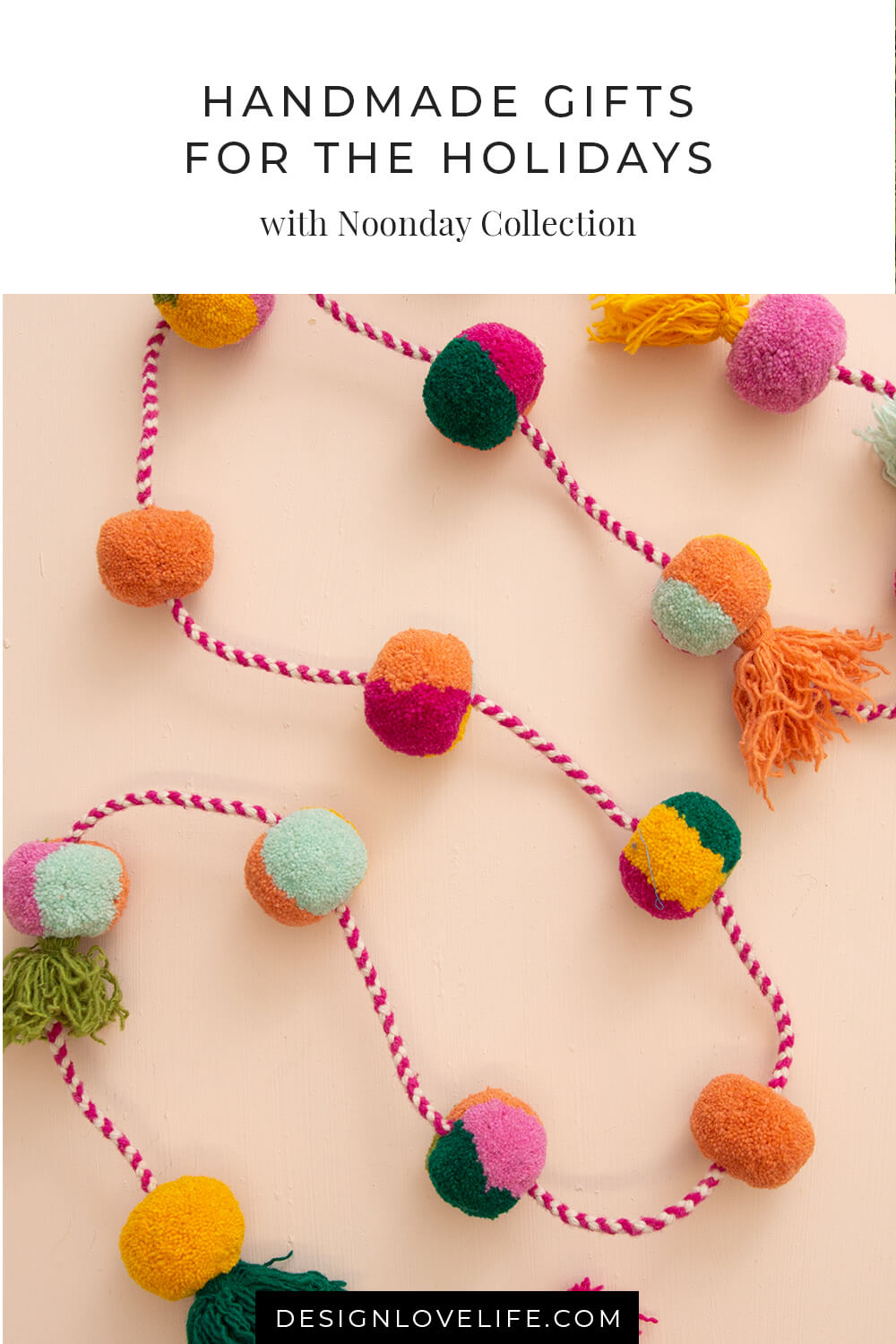 Handmade gifts for the holidays. This Peruvian-made garland is a festive way to brighten up your wall, mantle, or holiday tree. A year-round pop of color that adds a handmade touch to your home. Noonday Collection and Annie Johnson.