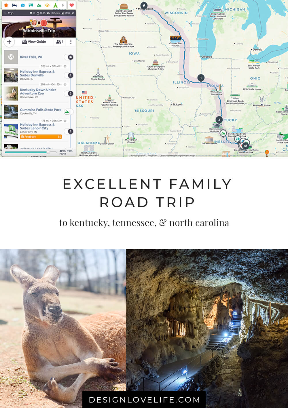 Excellent Family Road Trip to Kentucky, Tennessee, and North Carolina. Discover amazing stops along your way with the best road tripping app. Annie Johnson | Design Love Life.